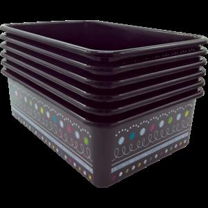 TCR32248 Chalkboard Brights Large Plastic Storage Bin-6 pack Image