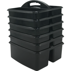 TCR32249 Black Plastic Storage Caddies 6-Pack Image