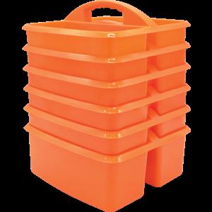 TCR32254 Orange Plastic Storage Caddies 6-Pack Image
