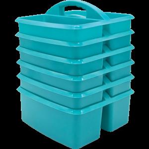 TCR32258 Teal Plastic Storage Caddies 6-Pack Image