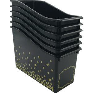 TCR32261 Black Confetti Plastic Book Bins 6-Pack Image