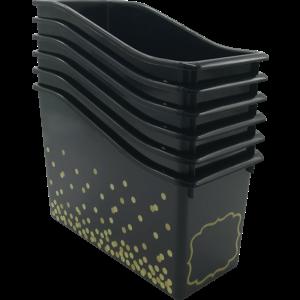 TCR32261 Black Confetti Plastic Book Bin-6 pack Image