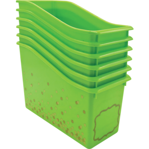 TCR32262 Lime Confetti Plastic Book Bins 6-Pack Image