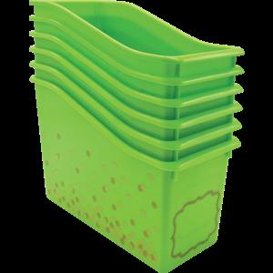 TCR32262 Lime Confetti Plastic Book Bin-6 pack Image