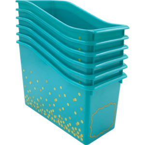 TCR32265 Teal Confetti Plastic Book Bins 6-Pack Image