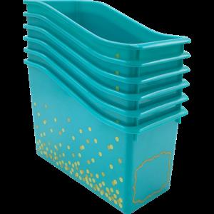 TCR32265 Teal Confetti Plastic Book Bin-6 pack Image