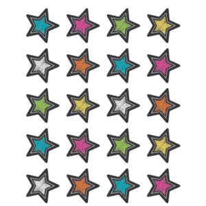 TCR3555 Chalkboard Brights Stars Stickers Image