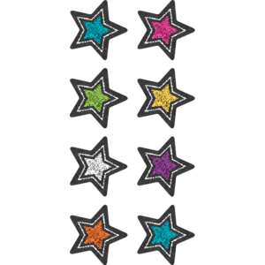 TCR3556 Chalkboard Brights Stars Mini Stickers Image