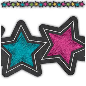 TCR3569 Chalkboard Brights Stars Die-Cut Border Trim Image