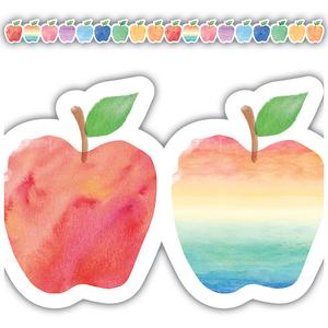 TCR3573 Watercolor Apples Die-Cut Border Trim Image