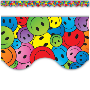 TCR4125 Happy Faces Scalloped Border Trim Image