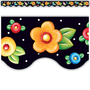 TCR4137 Dots & Flowers Scalloped Border Trim from Mary Engelbreit Image