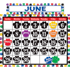 TCR4328 Colorful Paw Prints Calendar Bulletin Board Display Set Image