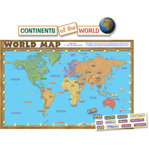 TCR4410 World Map (repositionable) Bulletin Board Display Set Image