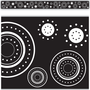 TCR4529 Black & White Crazy Circles Straight Border Trim Image