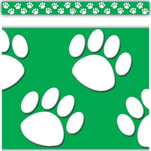 TCR4552 Green/White Paw Prints Straight Border Trim Image