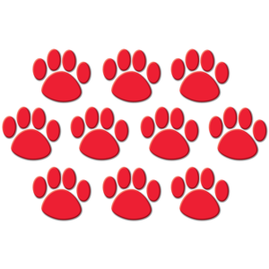 TCR4647 Red Paw Prints Accents Image