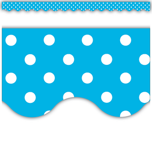 TCR4670 Aqua Polka Dots Scalloped Border Trim Image