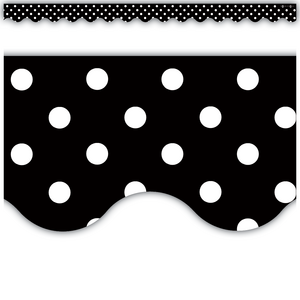 TCR4671 Black Polka Dots Scalloped Border Trim Image