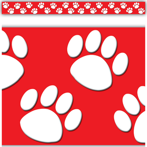 TCR4797 Red/White Paw Prints Straight Border Trim Image