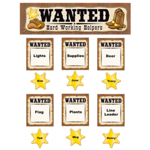 TCR4866 Wanted: Western Helpers Mini Bulletin Board Image