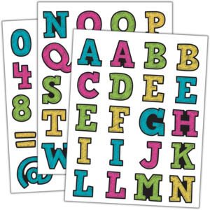 TCR5017 Chalkboard Brights Alphabet Stickers Image
