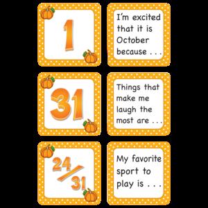 TCR5084 October Polka Dots Calendar Days/Story Starters Image