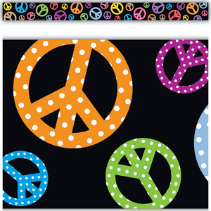 TCR5148 Peace Signs Straight Border Trim Image