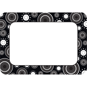 TCR5169 Black/White Crazy Circles Name Tags/Labels Image