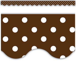 TCR5208 Chocolate Polka Dots Scalloped Border Trim Image