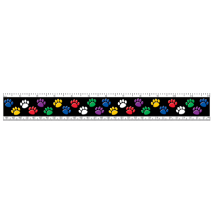 TCR5229 Colorful Paw Prints Ruler Image