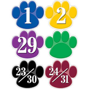 TCR5240 Colorful Paw Prints Calendar Days Image