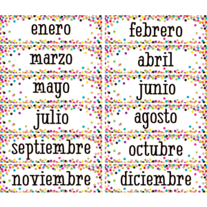 TCR5325 Confetti Spanish Monthly Headliners Image