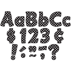 """TCR5346 Black Polka Dots Funtastic 4"""" Letters Combo Pack Image"""