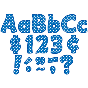 "TCR5347 Blue Polka Dots Funtastic 4"" Letters Combo Pack Image"