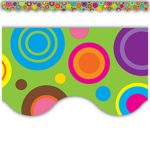 TCR5366 Lime Colorful Circles Scalloped Border Trim Image