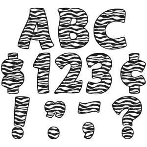 "TCR5375 Zebra Print Funtastic 4"" Letters Uppercase Pack Image"