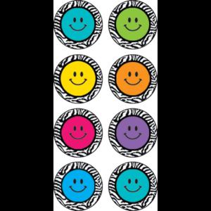 TCR5396 Zebra Happy Faces Mini Stickers Image