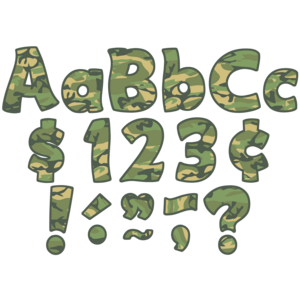 """TCR5427 Camouflage Funtastic 4"""" Letters Combo Pack Image"""