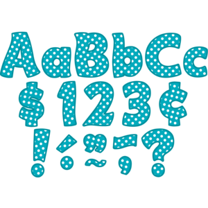 "TCR5429 Teal Polka Dots Funtastic 4"" Letters Combo Pack Image"