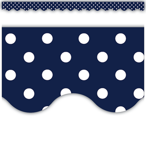 TCR5432 Navy Polka Dots Scalloped Border Trim Image