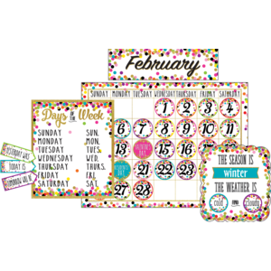 TCR5443 Confetti Calendar Bulletin Board Display Image