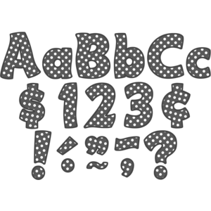 """TCR5459 Gray Polka Dots Funtastic 4"""" Letters Combo Pack Image"""