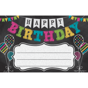 TCR5466 Chalkboard Brights Happy Birthday Awards Image