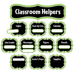 TCR5493 Lime Polka Dots Classroom Helpers Mini Bulletin Board Image