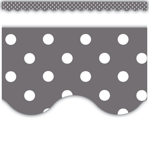 TCR5495 Gray Polka Dots Scalloped Border Trim Image
