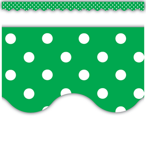 TCR5498 Green Polka Dots Scalloped Border Trim Image