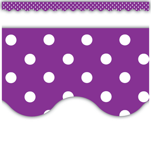 TCR5499 Purple Polka Dots Scalloped Border Trim Image