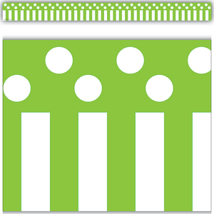 TCR5502 Lime Stripes and Polka Dots Straight Border Trim Image