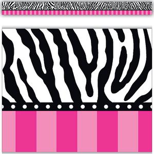TCR5505 Zebra and Hot Pink Stripes Straight Border Trim Image